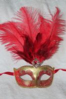 Red and Gold Tall Feather Mask